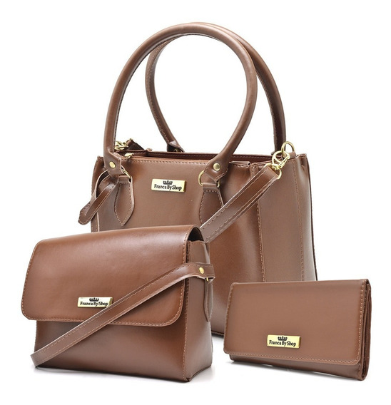 Bolsa Feminina Kit Com 2 Bolsas Pequena+carteira Linda