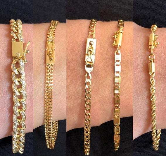 Pulseiras Masculina Banhada A Ouro 18k Com 10 Camadas
