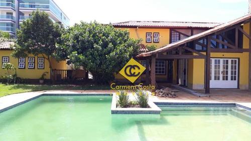 Linda Casa Com 5 Dormitórios, 530 M² - Venda Por R$ 3.200.000 Ou Aluguel Por R$ 20.000/mês - Costazul - Rio Das Ostras/rj - Ca1609