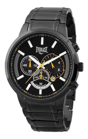 Relógio Pulso Everlast Masculino Cronografo Aço Preto E502
