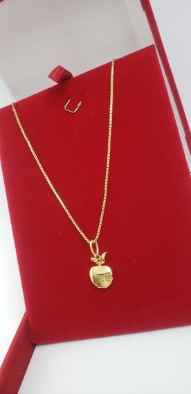 Corrente Ouro 18k 50cm Com Pingente Maçã Mordida 4 Diamantes