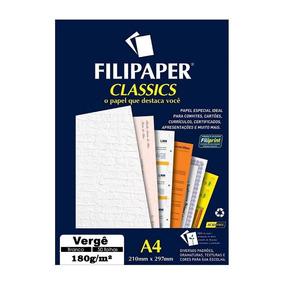 Papel Vergê Branco 180g 50 Folhas Filipaper