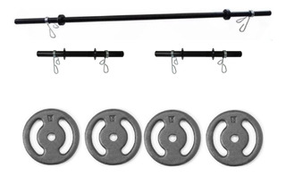 Kit Halteres + Anilhas 20kg Com 2 Barras De 40cm Entrega 24h