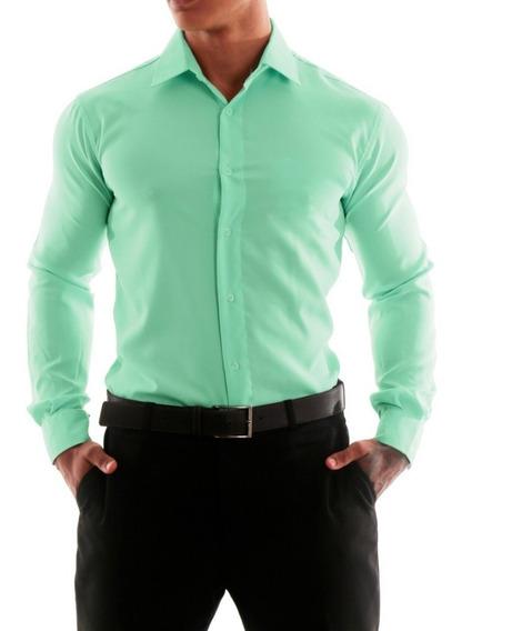 Camisa Social Masculina Slim Fit Sem Bolso Luxo Estilo