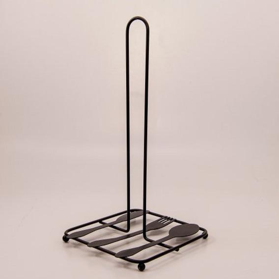 Porta Rollo De Cocina De Metal Negro