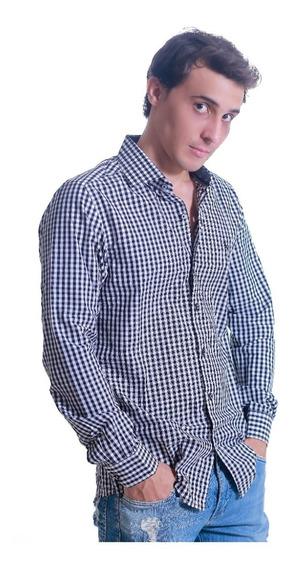 Camisa Social Masculina Slim Xadrez Manga Longa - Promoção