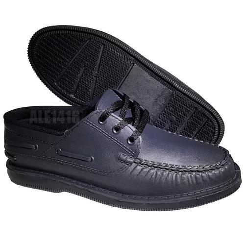 Zapatos Nauticos Mocasin Negro Vestir Traje Colegio Fiesta