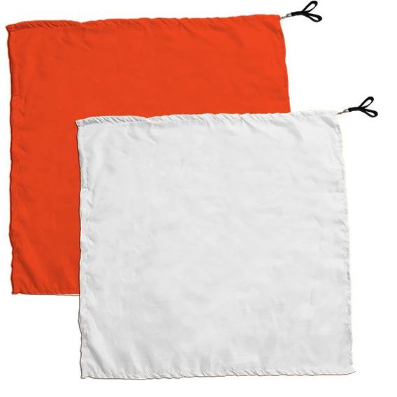 Swing Flag Quadrado Laranja E Branco - Vendido Por Par