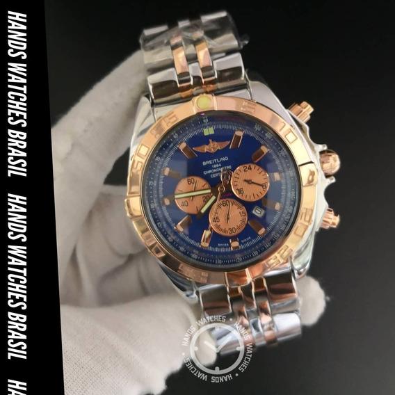 Relógio De Luxo Aço Misto Silver Gold
