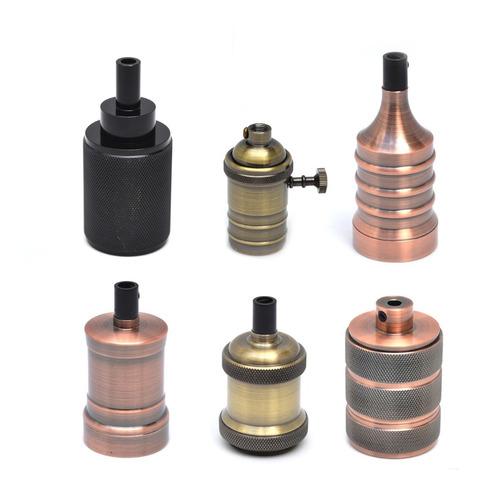 Imagen 1 de 6 de Portalampara Vintage Metalico   Peso Ideal Para Cable Textil