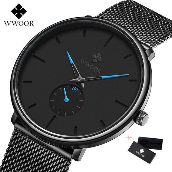Relógio De Pulso Wwoor 8855 Super Slim Original Luxuoso