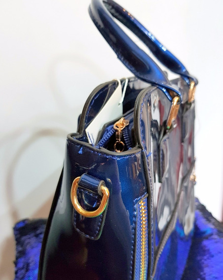 Cartera Charol Azul