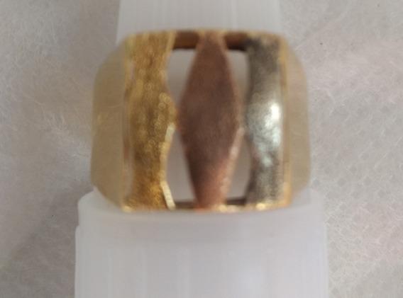 Anel Em Ouro Vermelho Branco E Amarelo 18k 750