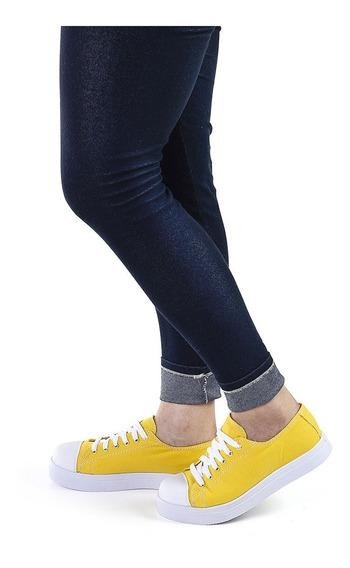 Tênis Sacolei Sola Baixa Em Lona Amarelo, Detalhe Em Costura