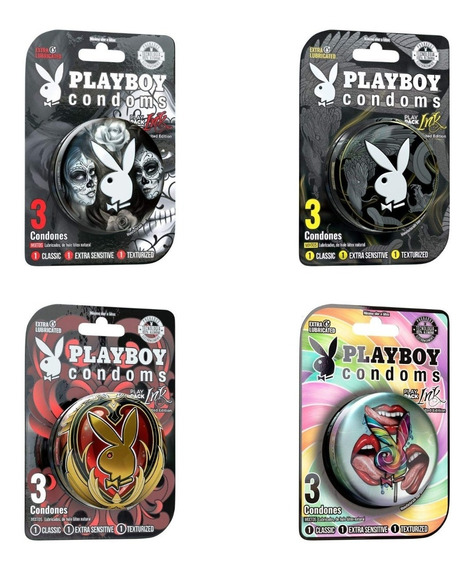 Playboy Condoms Colección Ink 4 Latas Con 3 Condones C/u