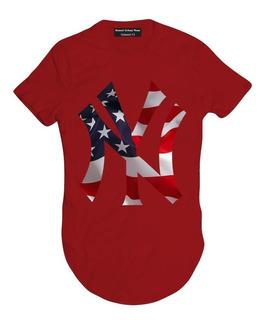 Camiseta Camisa Blusa Oversized Longline Ny Bandeira King