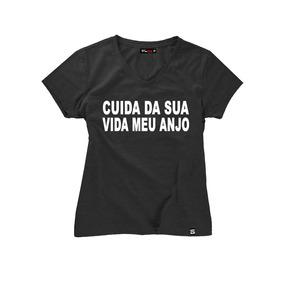 Kit 3 Camisa Feminina Gola V Blusa T-shirt Frases Do Momento