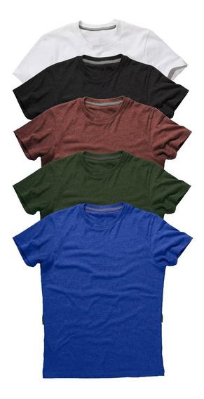 Kit 5 Camiseta Masculina Básica Lisa Camisa Algodão 30.1