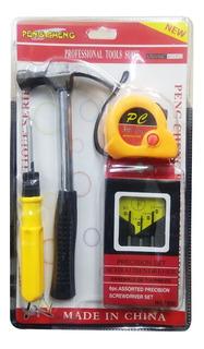 Mini Kit De Ferramentas - Trena 3m Martelo Chaves Phillips