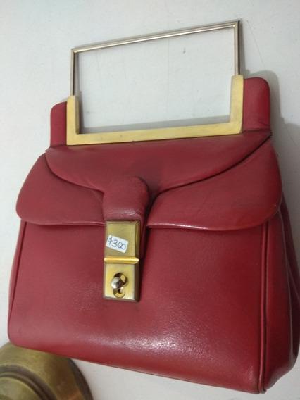 Cartera Pellizco Vintage Cuero Rojo