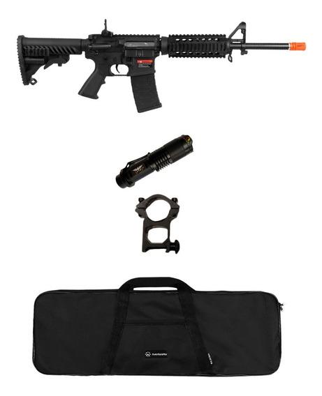 Rifle Airsoft M4a1 A.p.s Blowback + Lanterna + Capa
