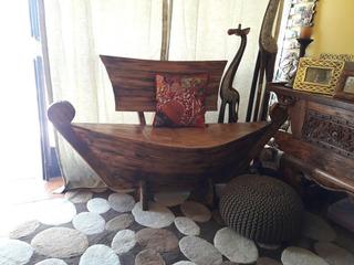 Maravilloso Mueble Sillon Banca Forma De Bote Indonesia Bali