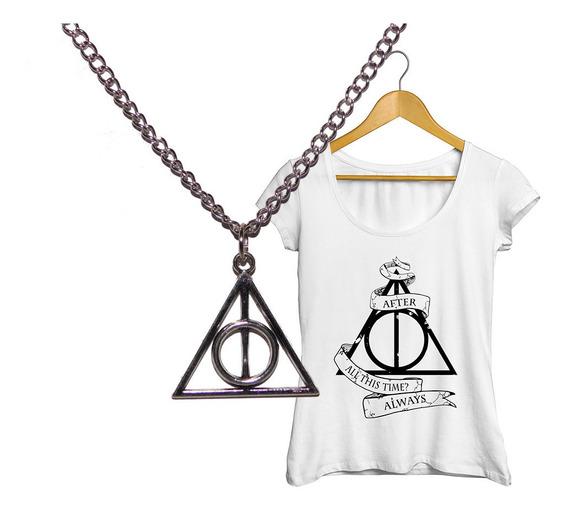 Pack Harry Potter Collar Reliquias De La Muerte + Remera