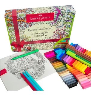 Faber Castell Estuche 60 Plumones Y Libro Mandalas Colorear