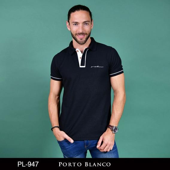 Camisa Polo Porto Blanco Algodon Hombre Negra Casual Pl-947