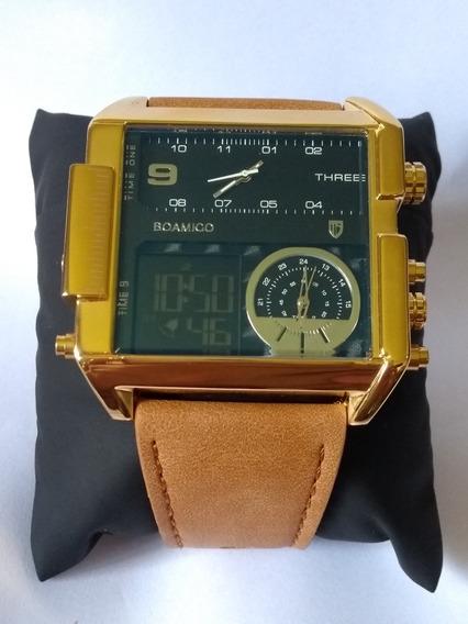 Relógio Masculino Quadrado Preto Dourado 3 Boamigo Promoção