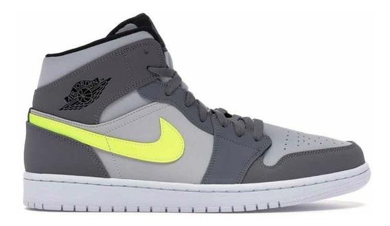 Sneakers Original Jordan 1 Mid Gunsmoke Volt Grises Original