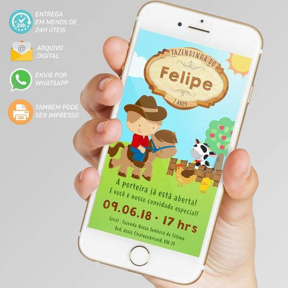 Convite Digital Fazendinha Menino Virtual Imprimir Whatsapp