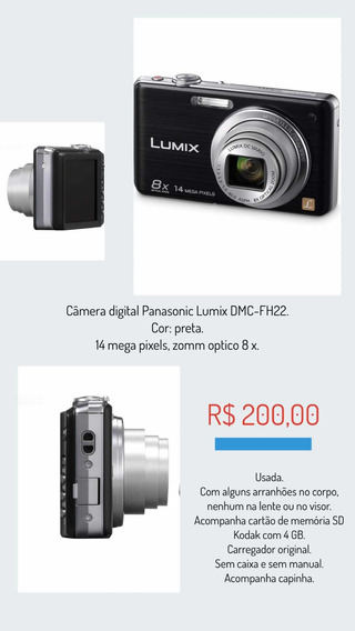 Câmera Digital Panasonic Lumix Dmc-fh22