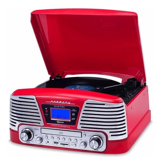 Toca Discos Vitrola Raveo Harmony Vermelha