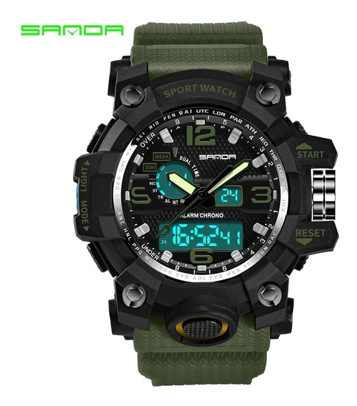 Relógio Luxo Top Militar Estilo G Sports Watch Duplo Display