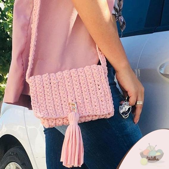 Bolsa Crochê Fio De Malha Com Alça Casual Rosa