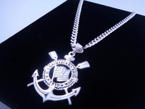 Corrente Pingente Corinthians 60cm 4mm Prata Pura 925 Brinde