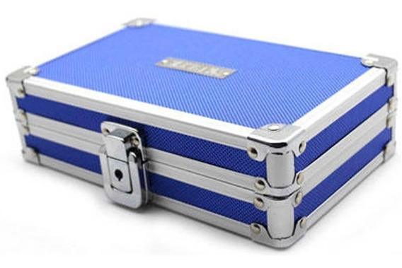 Caixa Organizador Cofre Com Chave Azul