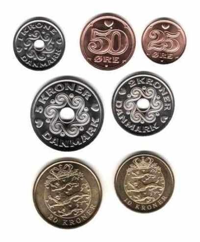 Serie De 7 Monedas De Dinamarca Año 2005/6 Sin Circular