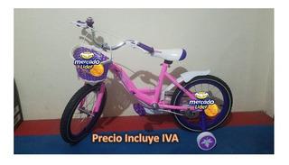 Bicicleta Para Niños Aro 12 Con Ruedas Posteriores Niñas