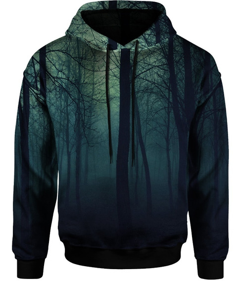 Blusa Moletom Bolso Lateral Capuz Tumblr Floresta Forest 3d