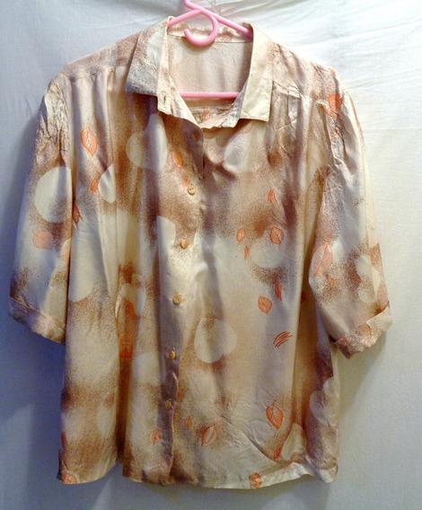 Camisa Vestir Estampada Verano Talle 4 Vintage Tipo Seda