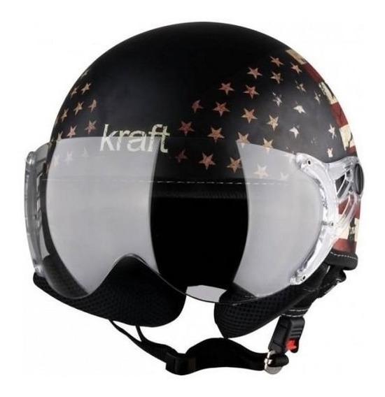 Capacete Kraft Plus Bandeira Usa Fosco Aberto