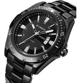 Relógio Masculino Aço Inox Com Calendário Pulso Fino Preto