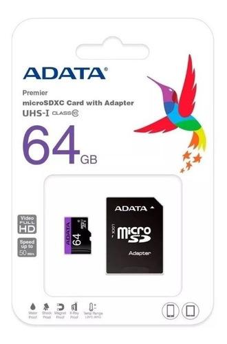 Memoria Micro Sd 64gb Clase 10 Adata Original Nuevo