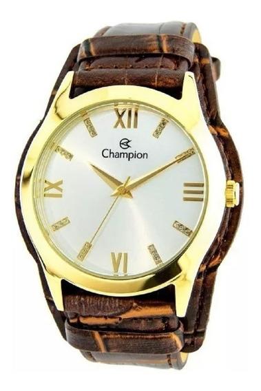 Kit Relógio Champion Feminino Pulseira Couro Marrom Cn20346w