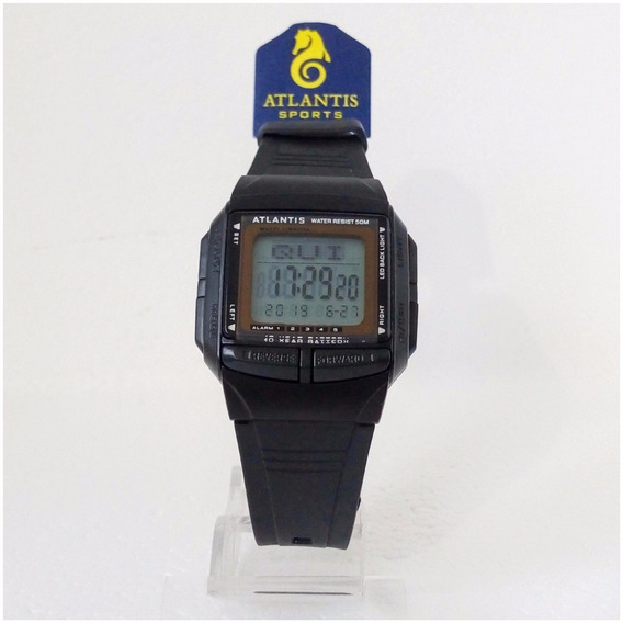 Relógio Digital Masculino Atlantis Original Databank 5 Alarm