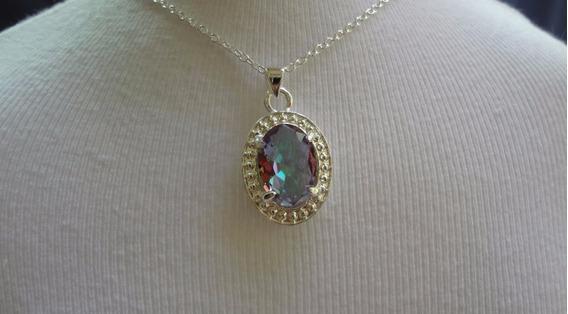Colar Folheado A Prata 950 Com Pedra De Cristal Furta Cor