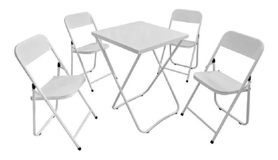 Mesa Bar Aco 4 Cadeiras Festa Dobravel Resistente Pratico