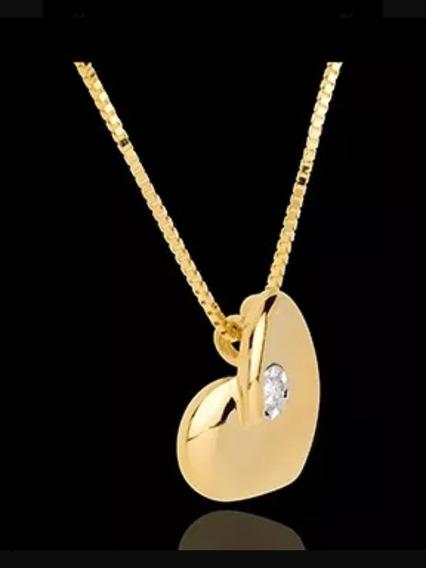 Ponto De Luz,ouro 18k Com Diamante De 5 Pontos